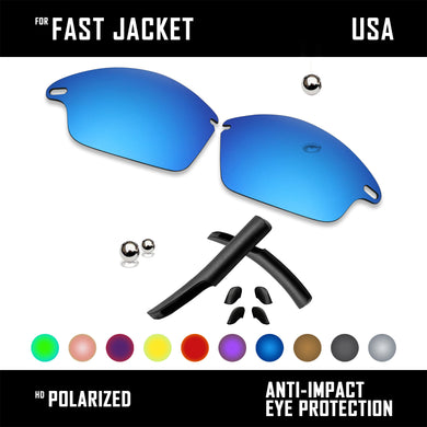 Anti Scratch Polarized Replacement Lens&Rubber Kit for-Oakley Fast Jacket OO9097