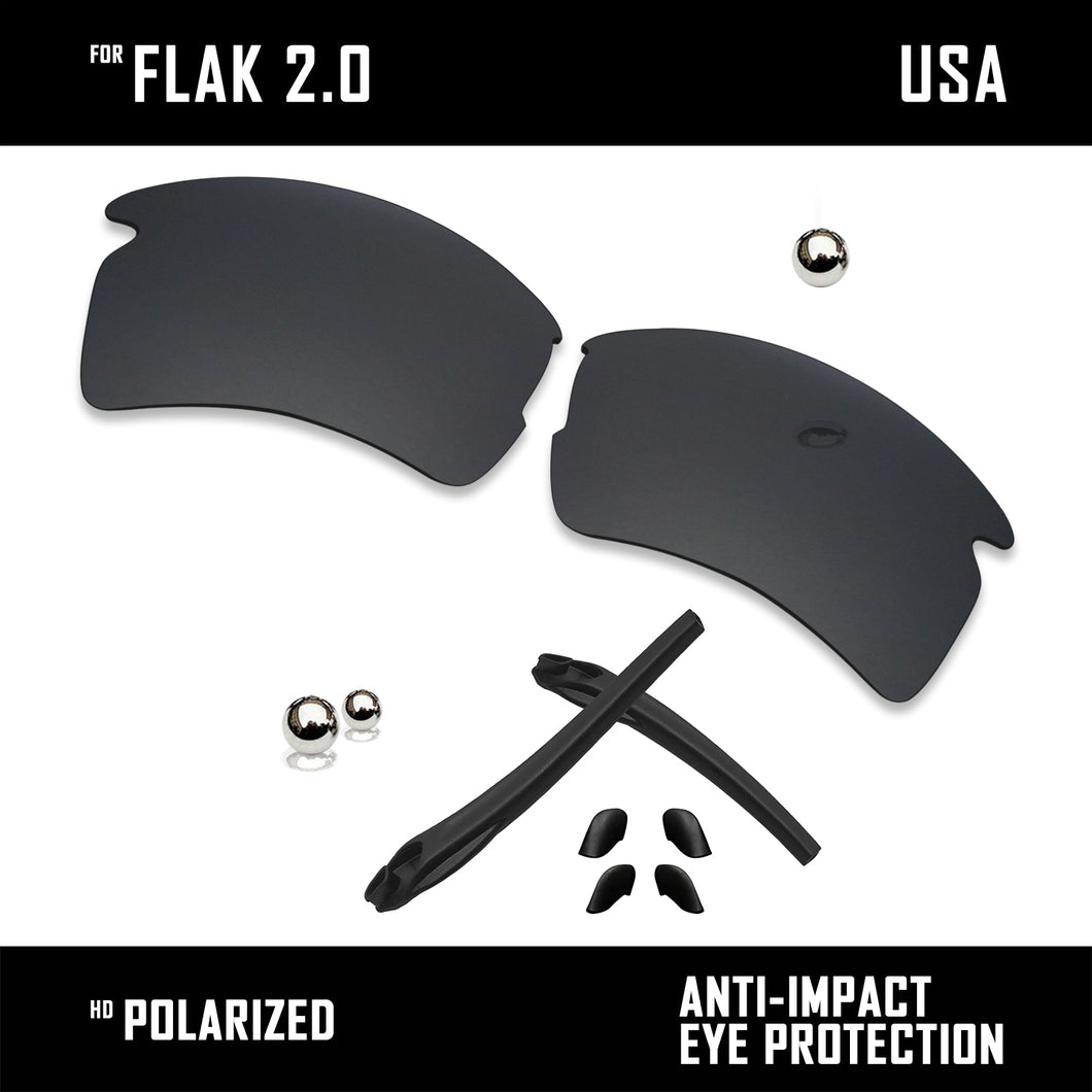 Anti Scratch Polarized Replacement Lens & Rubber Kits for-Oakley Flak 2.0 OO9295