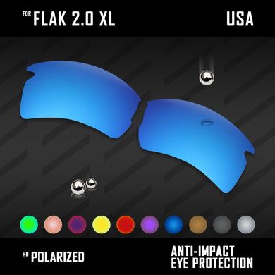 Anti Scratch Polarized Replacement Lenses for-Oakley Flak 2.0 XL OO9188 Options