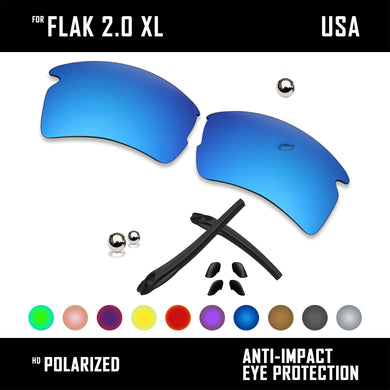 Anti Scratch Polarized Replacement Lens&Rubber Kit for-Oakley Flak 2.0 XL OO9188