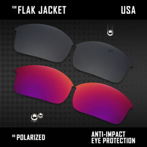 Anti Scratch Polarized Replacement Lenses for-Oakley Flak Jacket OO9097 Options