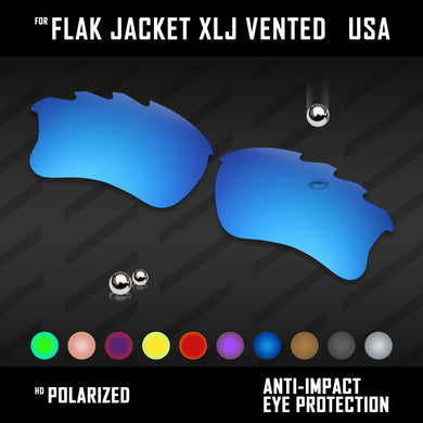Anti Scratch Polarized Replacement Lenses for-Oakley Flak Jacket XLJ Vented Opt