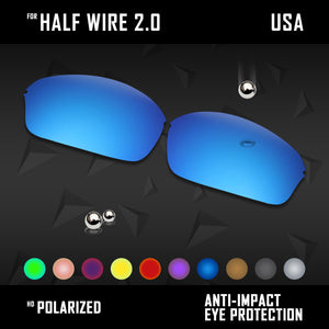 Anti Scratch Polarized Replacement Lenses for-Oakley Half Wire 2.0 Options