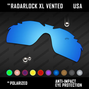 Anti Scratch Polarized Replacement Lenses for-Oakley RadarLock XL Vented Options