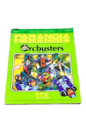 PARANOIA RPG - ORCBUSTERS. VG+ CONDITION.