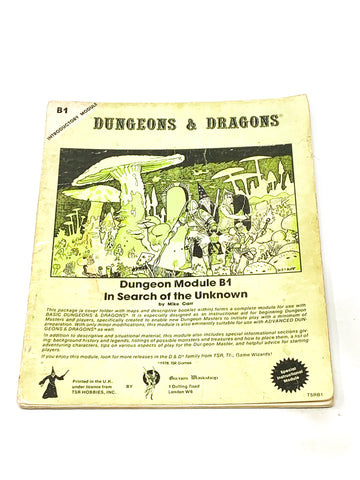 D&D. B1 - IN SEARCH OF THE UNKNOWN. GD CONDITION.