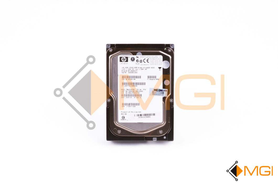 365699-003 HP 146.8GB 15000RPM WIDE ULTRA320 SCSI HARD DRIVE FRONT VIEW