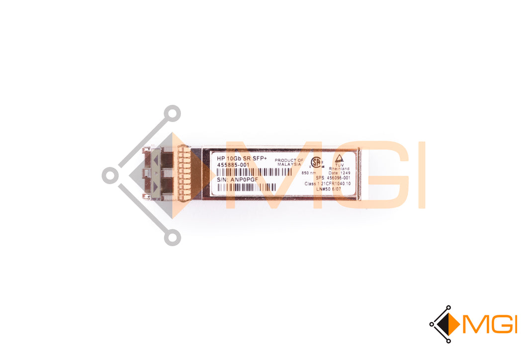 455885-001 HP 10GB SR SFP+ OPTICAL TRANSCEIVER FRONT VIEW