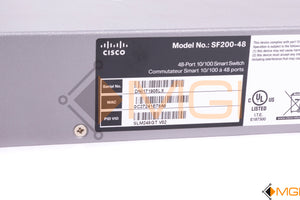 SF200-48 CISCO 48-PORT SMART SWITCH W/ 2 COMBO MINI-GBIC PORTS DETAIL VIEW