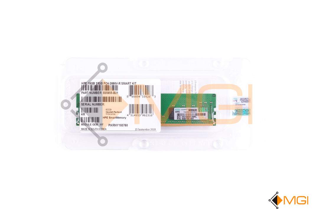 835955-B21 840756-091 HPE 16GB 2RX8 PC4-2666V-R SMART KIT NEW FACTORY SEALED TOP VIEW