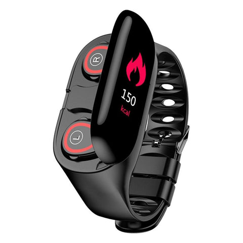 2 in 1 Fitness Smartwatch with Built-in Earbuds