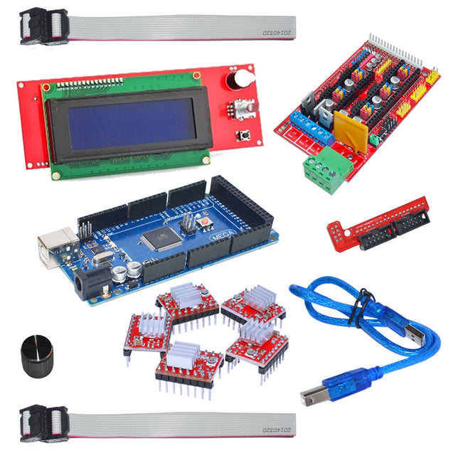 3D Printer Kit Ramps 1.4 Control Board + Mega 2560 R3 Panel + A4988 Driver Plate with Heatsink + 2004 LCD Display Screen - SunnySplit