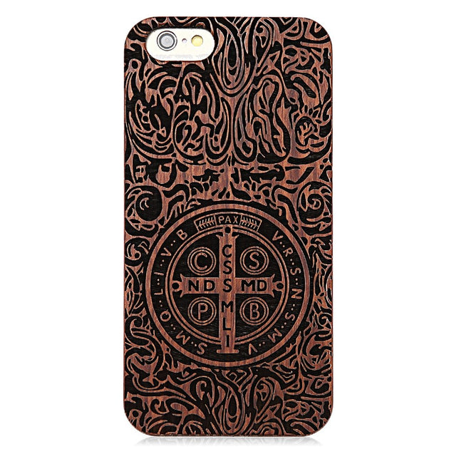 Retro Cross Pattern Embossment Carving Design Wood Back Case Cover for iPhone 6 / 6S - SunnySplit