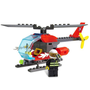 ABS Firefighter Helicopter Building Block DIY Model for Kids 89pcs - SunnySplit