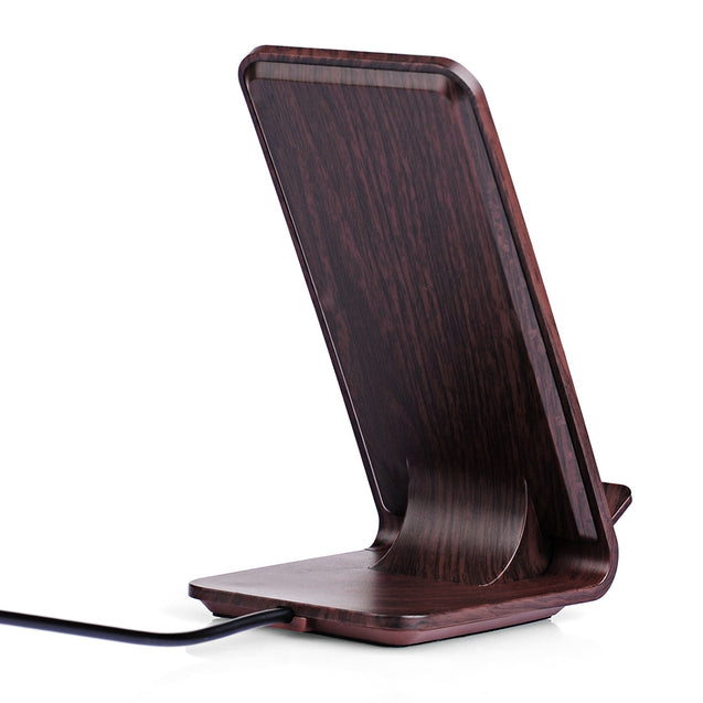 YoLike A8 10W Qi Wireless Charger Stand Wood Grain Dual Coil - SunnySplit