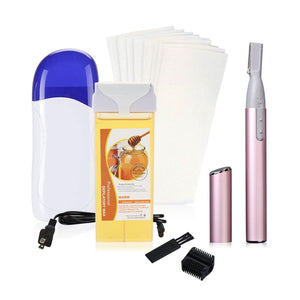 (EU) 4 in 1 Roll on Refillable Depilatory Wax Heater Waxing Hair Removal Kit Tools Machine with Electric Face Eyebrow Hair Body Blade Razor Shaver Remover Trimmer Kit, 20 PCS Paper Strip, 100g Depilat - SunnySplit