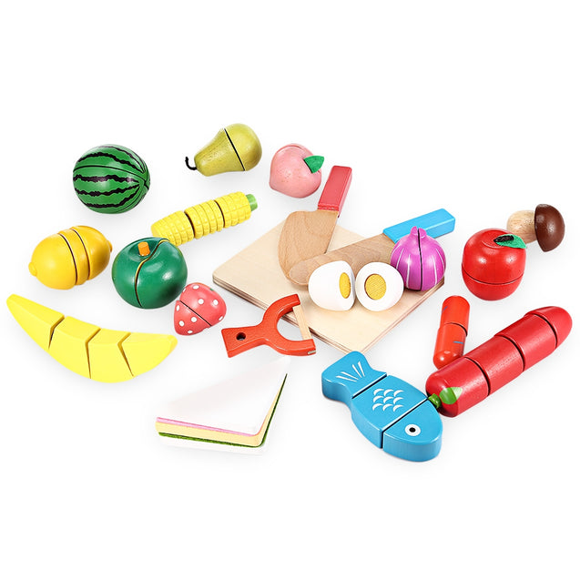 20pcs Wooden Cutting Fruits and Vegetables Barreled Toy - SunnySplit