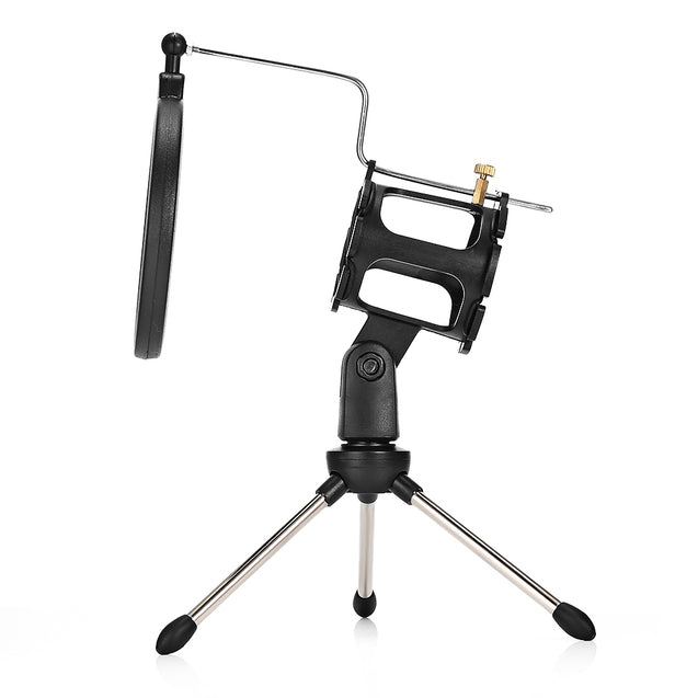 PS - 05 Adjustable Desktop Tripod Studio Condenser Stand for Microphone with Windscreen Filter Cover - SunnySplit