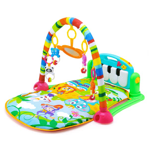 HE0603 Baby Piano Fitness Mat Newborn Educational Toy with Light / Music / 4 Animal Cartoon Rattles / 1 Small Mirror - SunnySplit