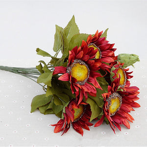 1 Bouquet 13 Heads Retro European Style Oil Painting Feel Red Sunflower Artificial Flowers 50CM - SunnySplit