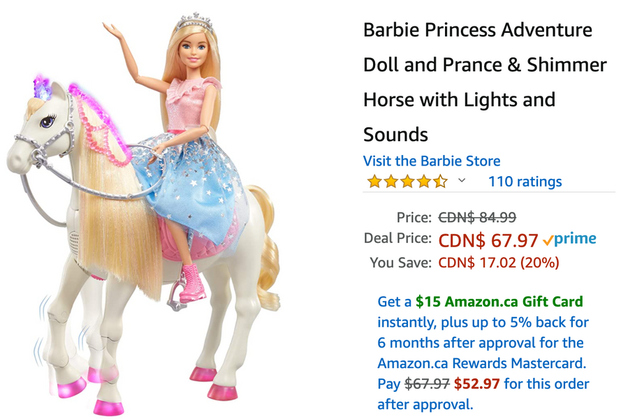 Amazon Canada Deals: Save 20% on Barbie Princess Adventure Doll and Prance & Shimmer Horse + 53% on Axloie Portable Bluetooth Speaker with Coupon + More Offer