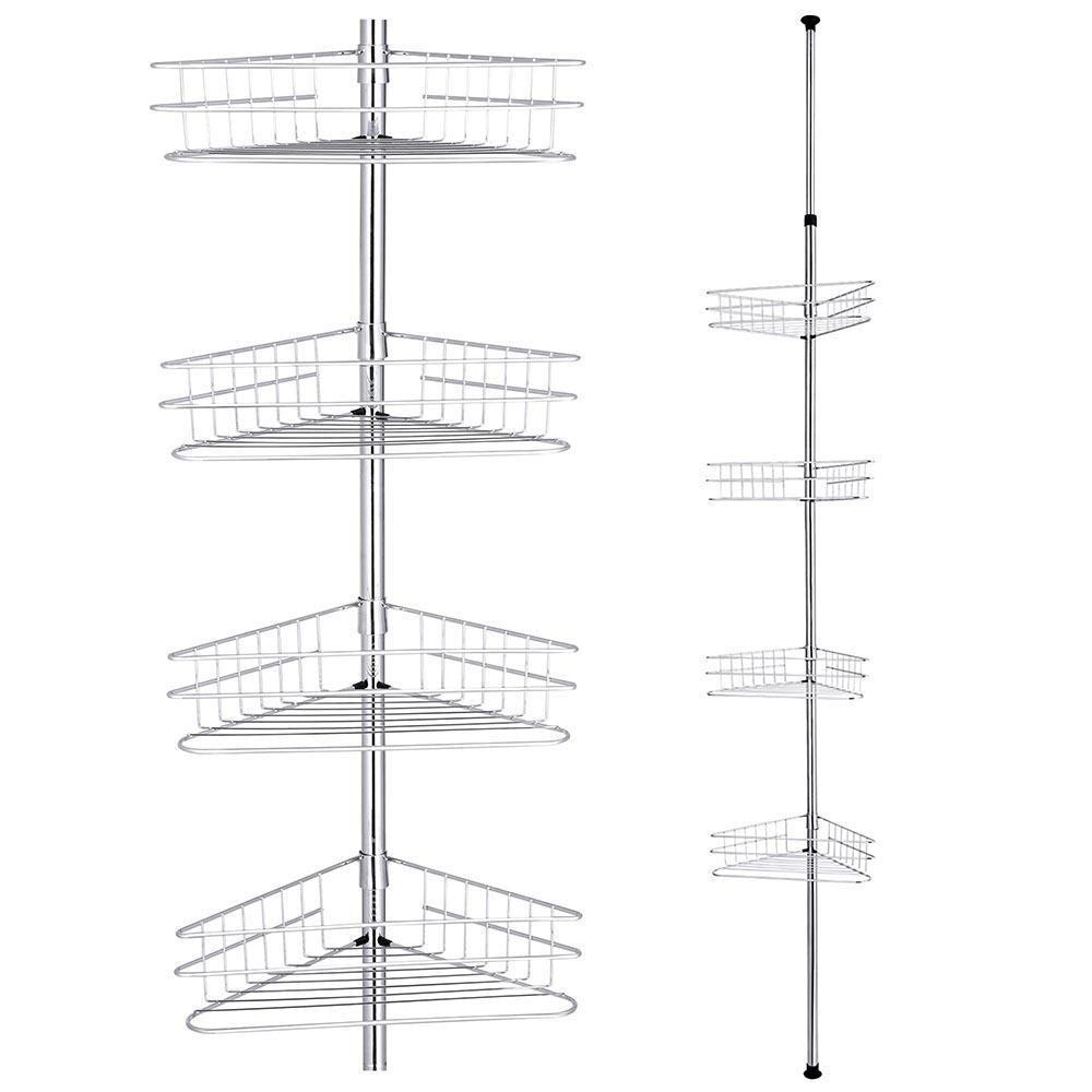 4 Tier Metal Bathroom Telescopic Corner Shower Shelf Silver