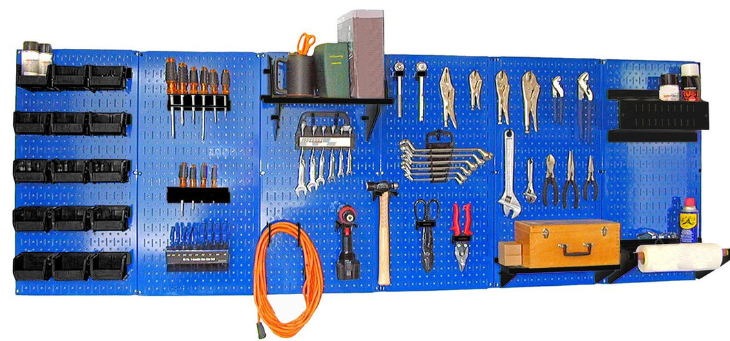 8' Metal Pegboard Master Workbench Tool Organizer Kit with Accessories - Blue/Black