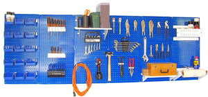 8' Metal Pegboard Master Workbench Tool Organizer Kit with Accessories - Blue/White