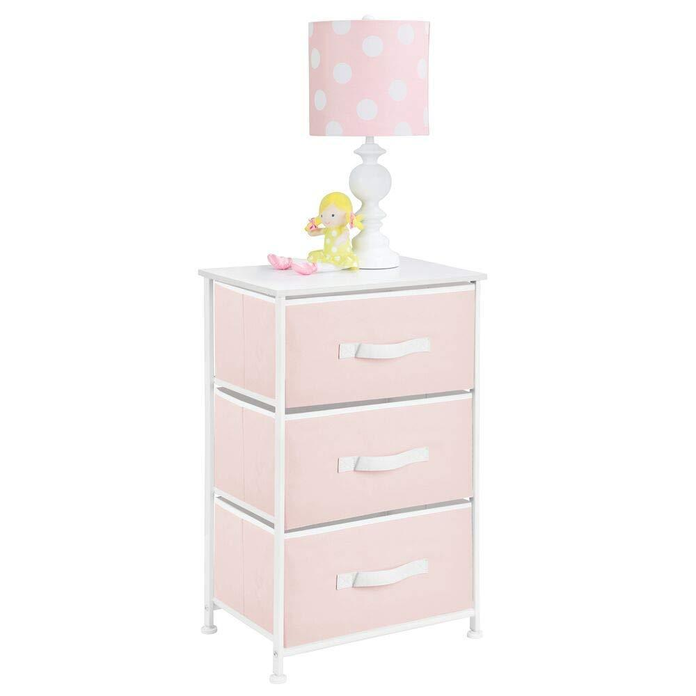 mDesign 3-Drawer Vertical Dresser Storage Tower - Sturdy Steel Frame, Wood Top and Easy Pull Fabric Bins - Multi-Bin Organizer Unit for Child/Kids Bedroom or Nursery - Light Pink/White
