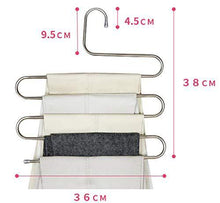 Load image into Gallery viewer, Best seller  lef 3 pack s type stainless steel hangers for space consolidation scarfs closet storage organizer for pants jeans ties belts towels