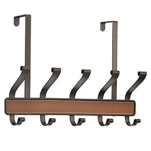 InterDesign Laredo Over Door Storage Rack – Organizer Hooks for Coats, Hats, Robes, Clothes or Towels – 5 Dual Hooks, Brown/Bronze