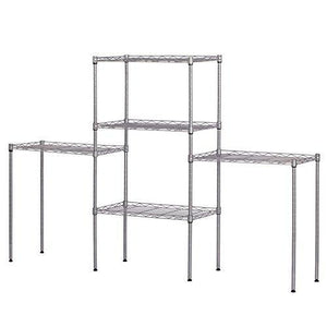 Products ferty 5 wire shelving units stacking storage shelf heavy duty metal adjustable shelves rack organizer for garden laundry bathroom kitchen pantry closet us stock