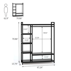 Storage little tree free standing closet organizer heavy duty closet storage with 6 shelves and handing bar large clothes storage standing garmen rack black