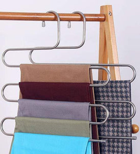 Amazon best lef 3 pack s type stainless steel hangers for space consolidation scarfs closet storage organizer for pants jeans ties belts towels