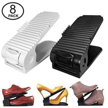 Load image into Gallery viewer, On amazon new upgraded adjustable shoes organizer best quality shoe slots closet storage space saver durable holds high heels to sneakers for men women and kid shoes 8 pack in black