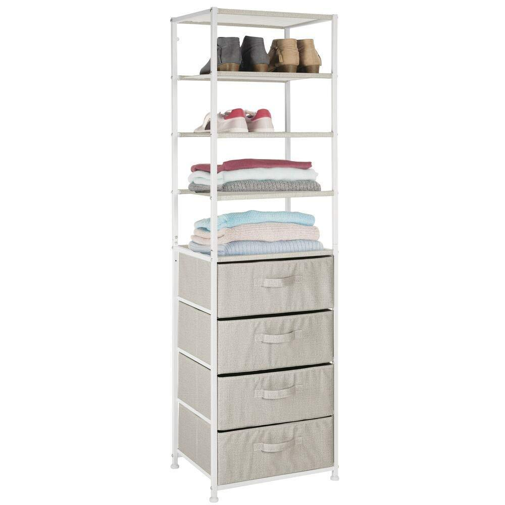 Products mdesign vertical dresser storage tower sturdy steel frame easy pull fabric bins organizer unit for bedroom hallway entryway closets textured print 4 drawers 4 shelves linen tan