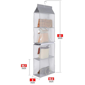 Discover aoolife hanging purse handbag organizer clear hanging shelf bag collection storage holder dust proof closet wardrobe hatstand space saver 4 shelf grey