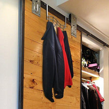 Load image into Gallery viewer, Shop over the door rack with hooks 5 hangers for towels coats clothes robes ties hats bathroom closet extra long heavy duty chrome space saver mudroom organizer by kyle matthews designs