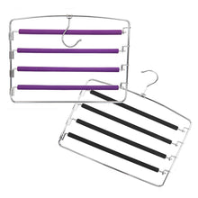 Load image into Gallery viewer, Kitchen clothes pants hangers 2pack multi layers metal pant slack hangers foam padded swing arm pants hangers closet storage organizer for pants jeans scarf hanging purple 4pack