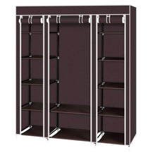 Load image into Gallery viewer, Best seller  amashion 69 5 tier portable clothes closet wardrobe storage organizer with non woven fabric quick and easy to assemble dark brown