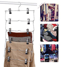 Load image into Gallery viewer, Save emstris skirt hangers pants hangers closet organizer stainless steel fold up space saving hangers