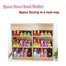 Load image into Gallery viewer, Storage organizer lovne 18 pairs adjustable double shoe rack organizer shoe slots space saver free standing shoe rack for closet shoes holder for boot high heels sneaker sandals slipper black white