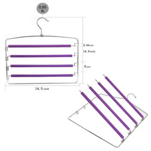 Load image into Gallery viewer, On amazon clothes pants hangers 2pack multi layers metal pant slack hangers foam padded swing arm pants hangers closet storage organizer for pants jeans scarf hanging purple 4pack