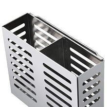 Load image into Gallery viewer, Explore junyuan kitchen wall mount utensil racks flatware hanging closet organizer holder for spoons knives forks chopsticks drainer basket 2 slots cookware cutlery holder with drain holes stainless steel
