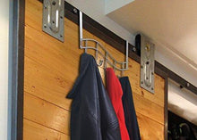 Load image into Gallery viewer, Related over the door rack with hooks 5 hangers for towels coats clothes robes ties hats bathroom closet extra long heavy duty chrome space saver mudroom organizer by kyle matthews designs