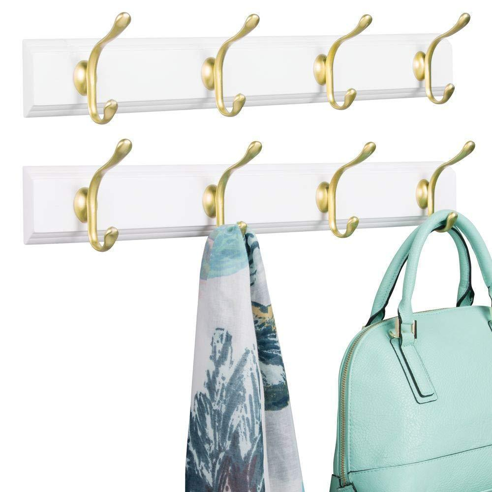 mDesign Decorative Wood Wall Mount Storage Organizer Rack for Coats, Hoodies, Hats, Scarves, Purses, Leashes, Bath Towels, Robes, Men and Women's Clothing - 8 Metal Hooks, 2 Pack - White/Gold Brass