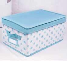 Load image into Gallery viewer, Heavy duty homyfort foldable storage box bins with lid sturdy canvas drawer dresser organizer for closet clothes bras ties set of 2 white canvas with blue flowers