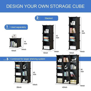Latest kousi portable storage shelf cube shelving bookcase bookshelf cubby organizing closet toy organizer cabinet black no door 16 cubes