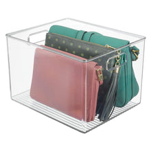 Load image into Gallery viewer, Kitchen mdesign plastic home storage basket bin with handles for organizing closets shelves and cabinets in bedrooms bathrooms entryways and hallways store sweaters purses 8 high 8 pack clear