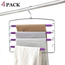 Load image into Gallery viewer, Home clothes pants hangers 2pack multi layers metal pant slack hangers foam padded swing arm pants hangers closet storage organizer for pants jeans scarf hanging purple 4pack
